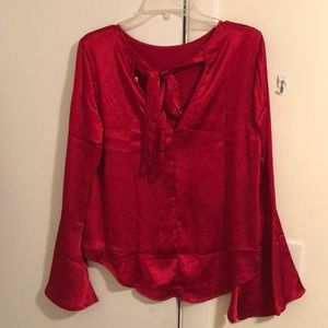 Tie back high low blouse